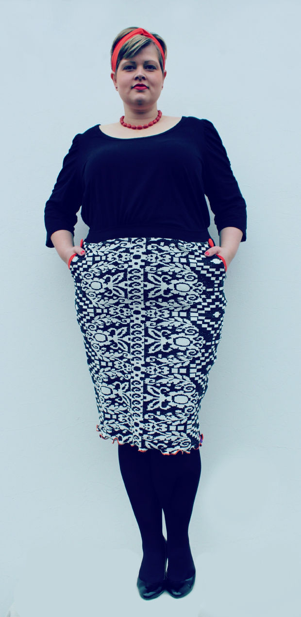 Plus Size Outfit black white frau schnittchen